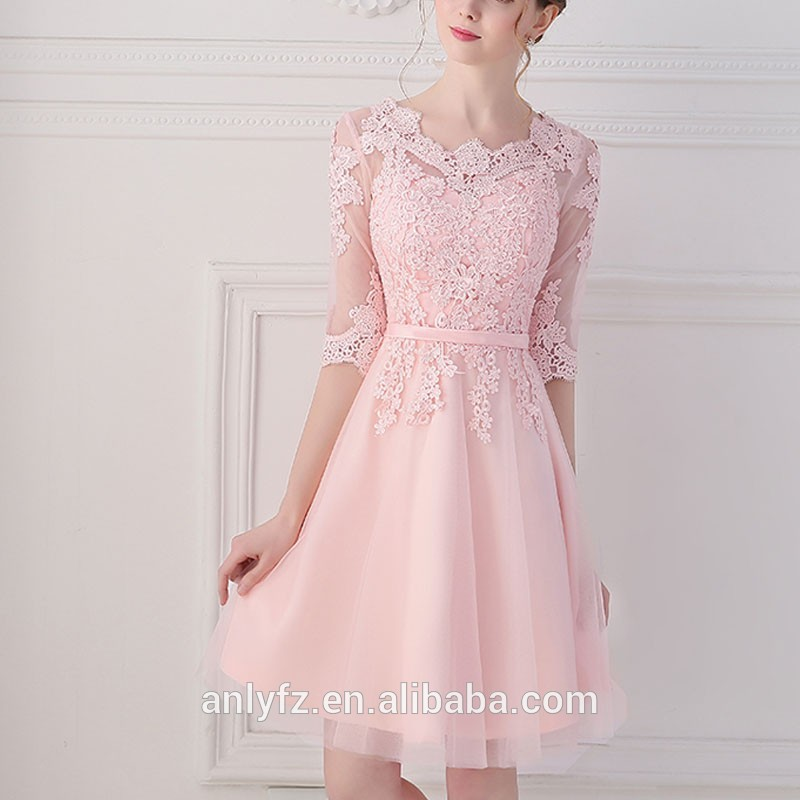 2016 Latest Fashion Design Korean Style Pink Sweet Lace