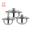 European style 6 pcs stainless steel casserole set apple shape hot pot stock pot for easy cooking