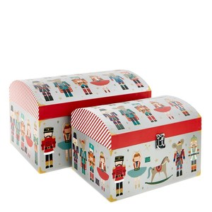 Wholesale custom small treasure paper toy chest christmas toy gift box with lock