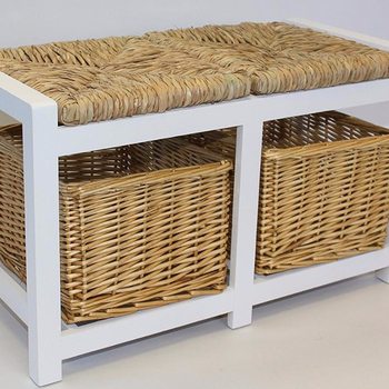Magnificent White Two Seater Wooden Storage Bench With Wicker Baskets And Seating Buy Wood Bench With Back Long Storage Bench Outdoor Storage Bench Product On Onthecornerstone Fun Painted Chair Ideas Images Onthecornerstoneorg