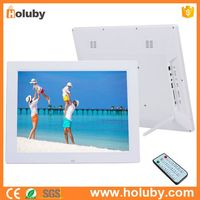 14 Inches White Digital Photo Frame with Remote Control LCD Display HD Resolution Multi Function Photo Vedio Calendar Clock