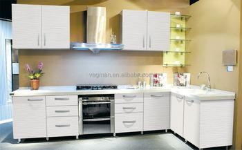 White Wood Grain Melamine Kitchen Cabinets China