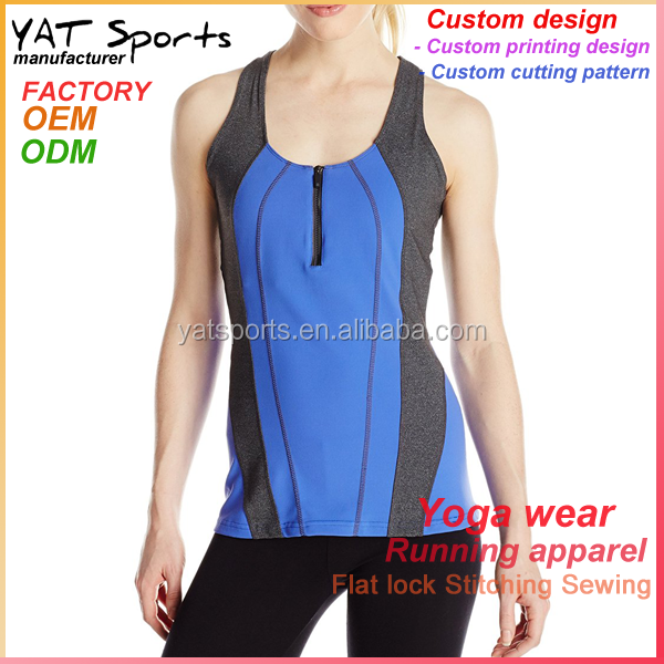 efc9d307b404ff Wholesale high end clothing 92% nylon 8% spandex front zip dri fit tank tops