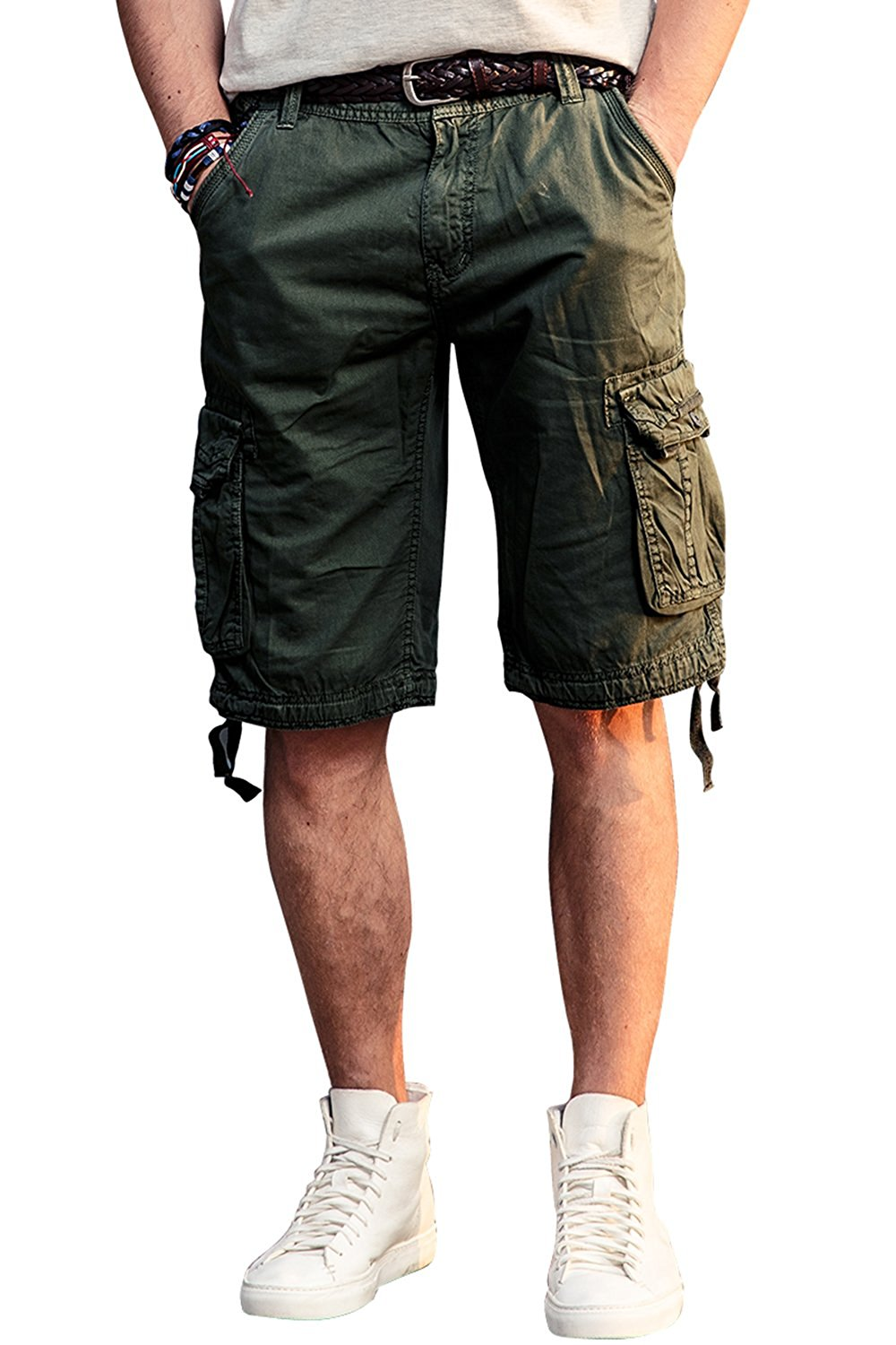 bfcde48bcb Get Quotations · INFLATION Mens Flat Front Shorts Casual Relaxed Fit Cargo  Shorts 100% Cotton Shorts with Pockets