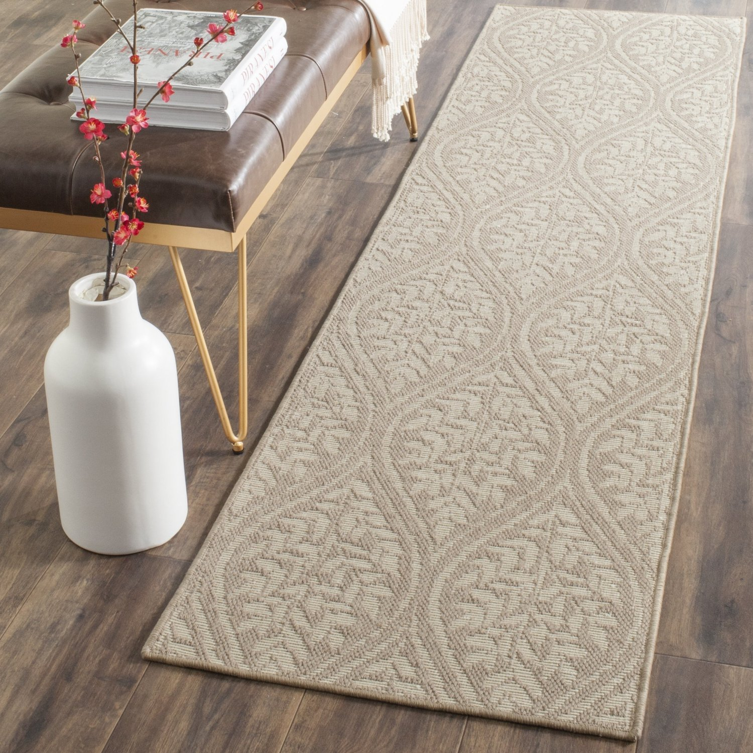 Safavieh Palm Beach Collection PAB515A Hand Woven Sand and Natural Jute Runner (2' x 8')