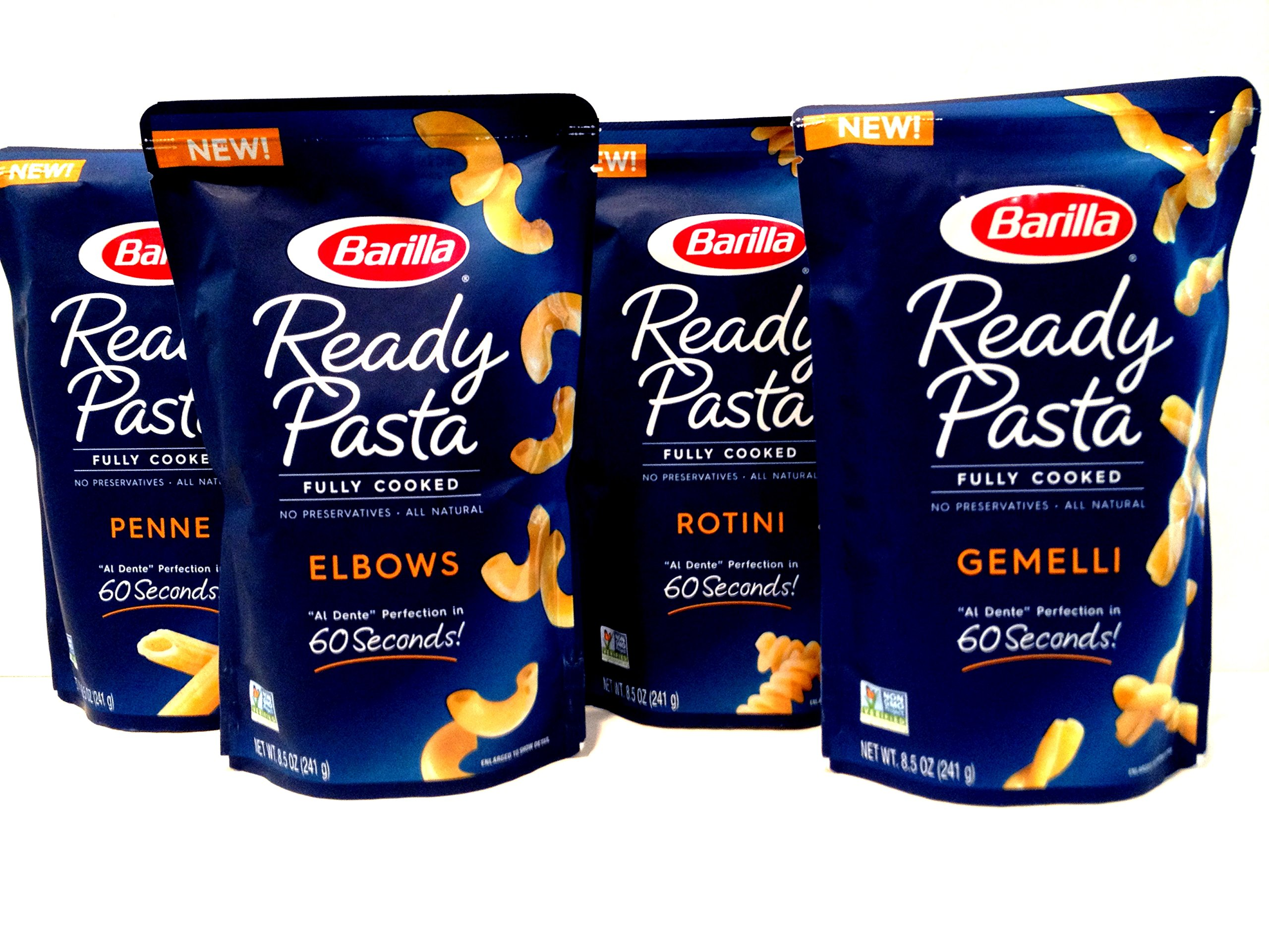 Barilla Fully Cooked READY PASTA, VARIETY 4 Pack: 1 Pouch each of ROTINI, PENNE, ELBOWS, GEMELLI with pack of silver plastic utensils! (8.5 oz each pouch) NEW for 2017!