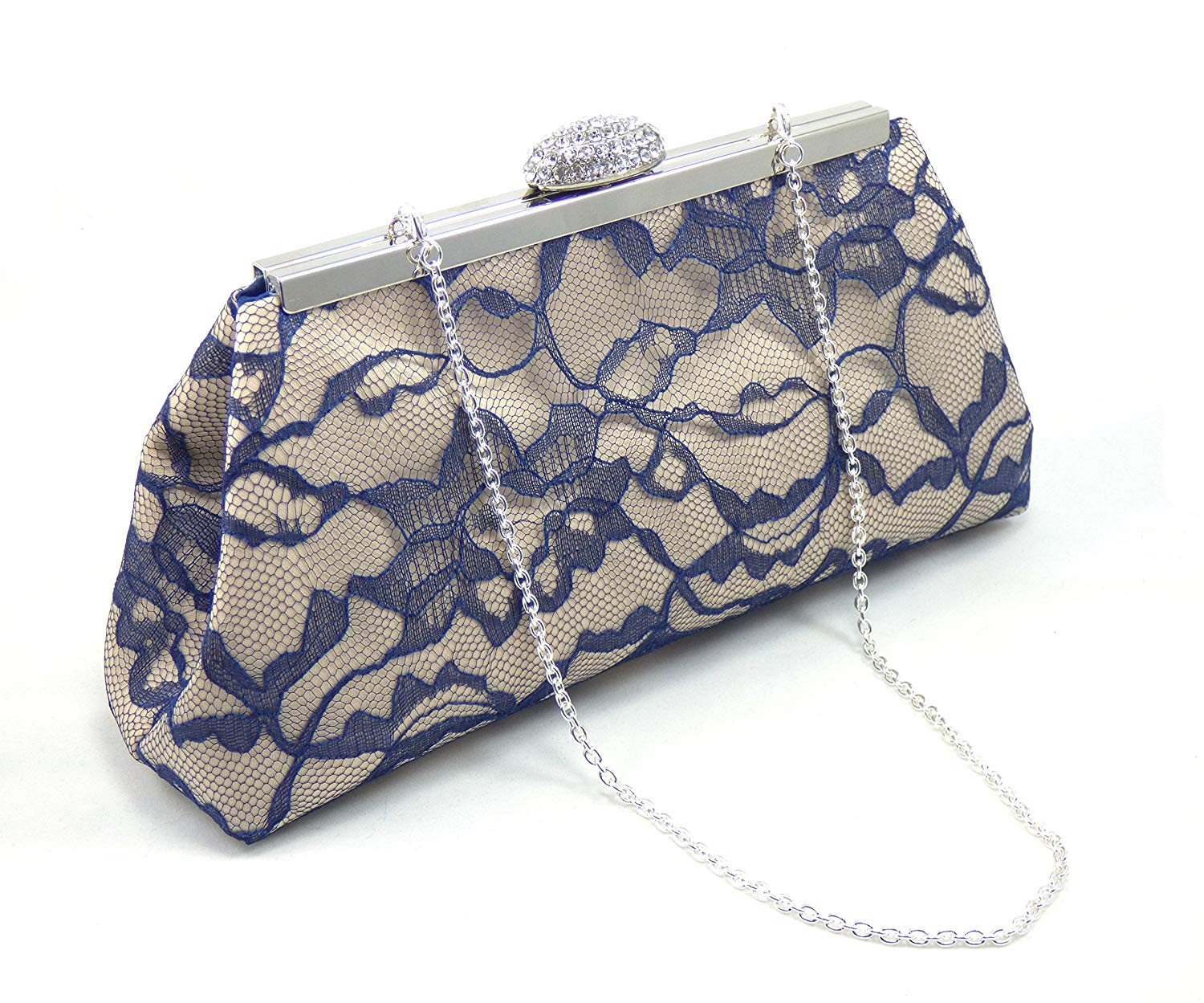 Champagne and Navy Blue Bridal Clutch, Something Blue, Bridesmaid Gift, Mother of the Bride Clutch, Bridesmaid Clutch