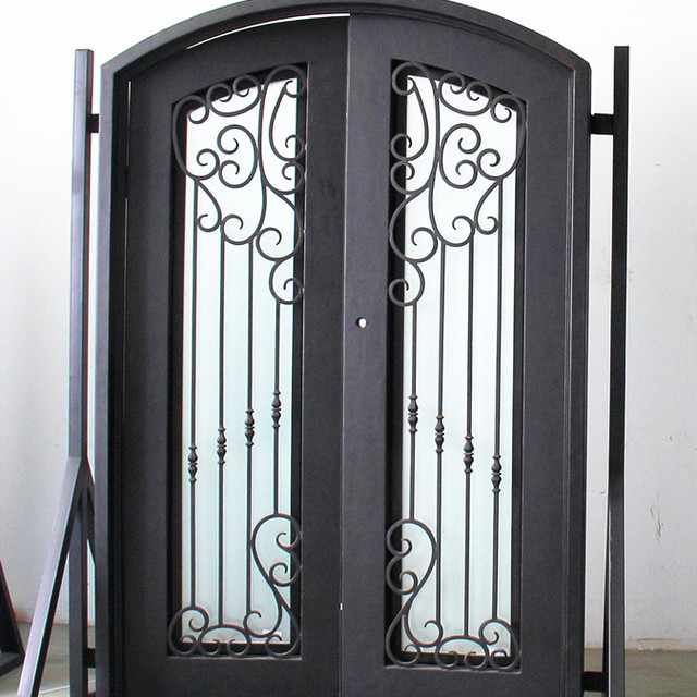 New cheap modern simple single double window door arch top safety front main entrance wrought iron & China Iron Door Shapes Wholesale 🇨🇳 - Alibaba