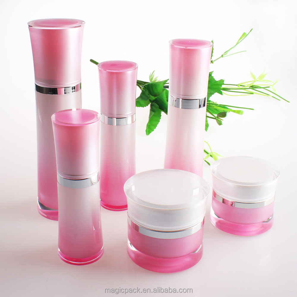 fade color cosmetic bottle acrylic pump, skin care packaging bottles