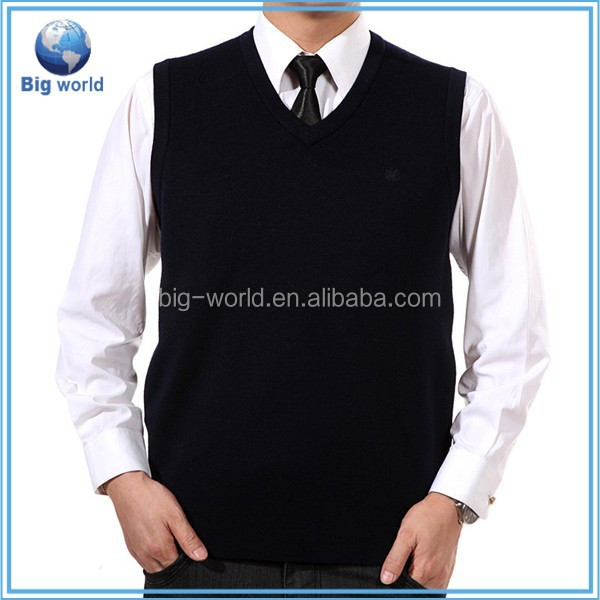 V-neck Mens Knitted Cardigan Fitted Wool Top Sleeveless Vest Sweater