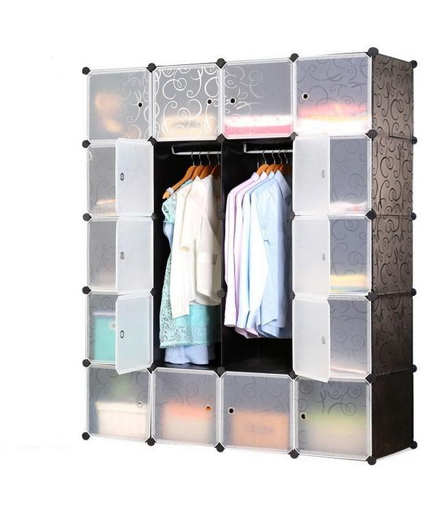 Multi Uso 20 Scomparti In Plastica Portatile di Stoccaggio Vestiti Guardaroba