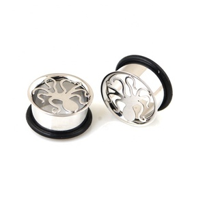 316L Surgical Steel Octopus Single Flare Ear Plugs with O-rings Piercing Jewelry Ear