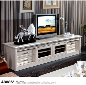 wooden long TV cabinet with sliding glass door