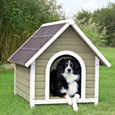 """Nantucket Dog House Size: Large (37.25"""" H x 35.25"""" W x 41.5"""" D), Color: Gray / White"""