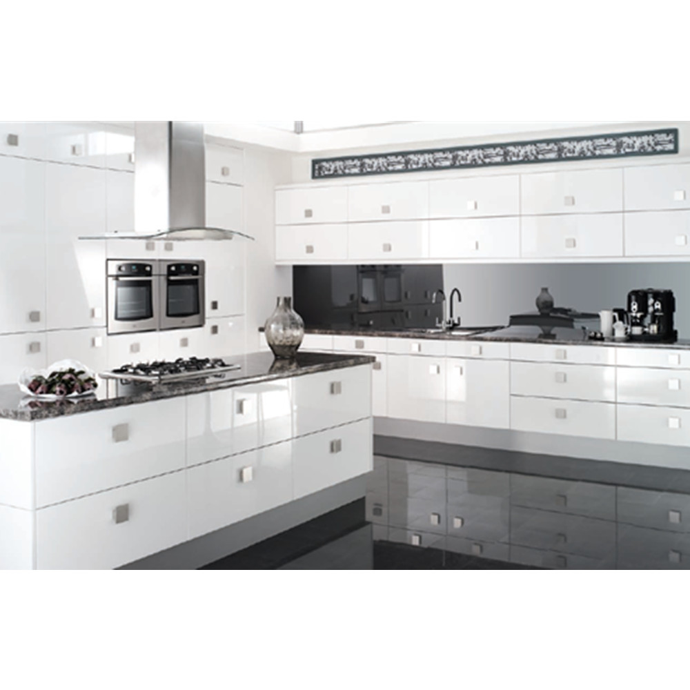 Furniture : Amazing White Lacquer Maple Wood Kitchen ...