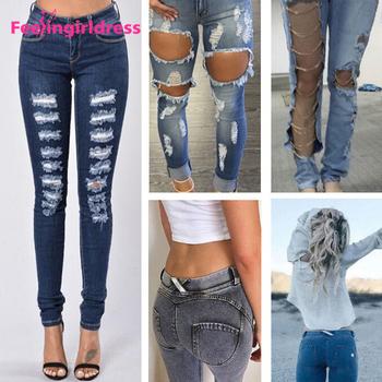 da37a01e2 Fashion Women Butt Lift Blue Jean Ripped Damaged Jeans - Buy ...