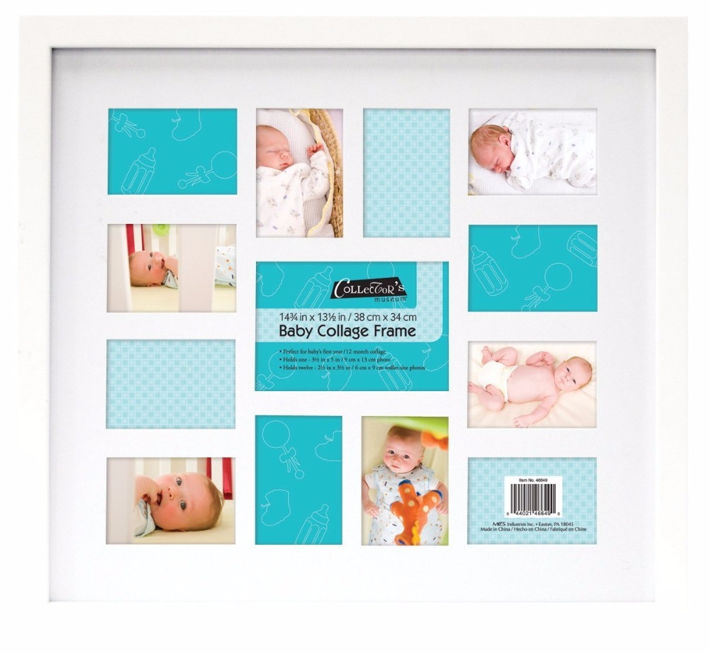 My First Year 12 Months Baby Wooden Collage Photo Frame in White Best Baby Shower Gifts