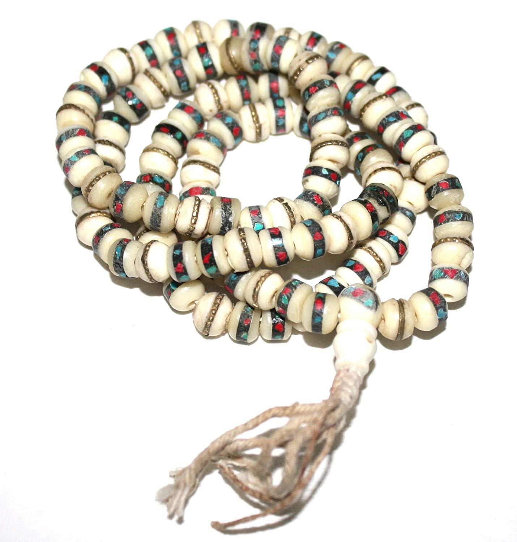 Tibetan Yak Bone Yogi Mala Yoga 108 Prayer Beads Mala