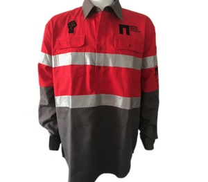Reflective High Visibility Safety Work Uniforms Red Grey Button Shirts
