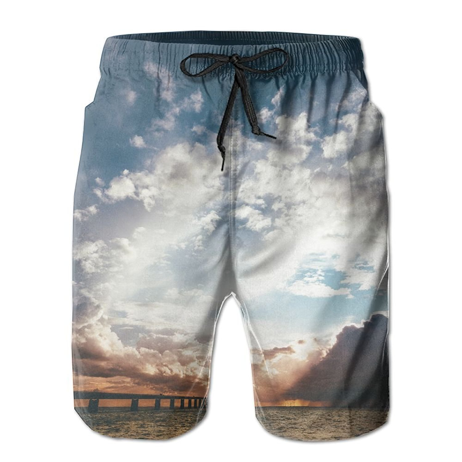Casual Men Sand Beach Pants Summer Surfer Water Dry Family Swimming Drawstring