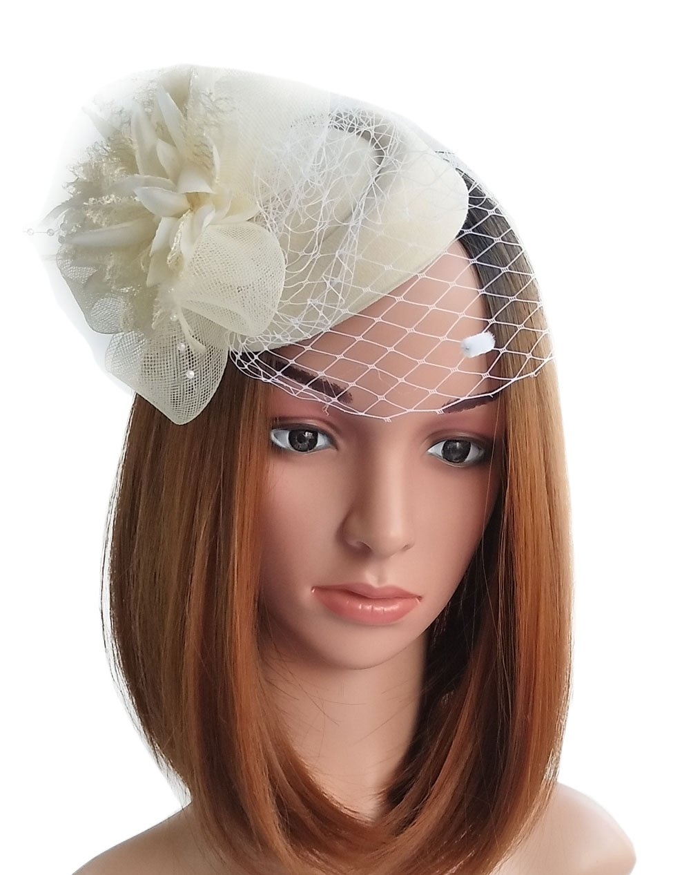 Get Quotations · Coolwife Fascinator Hats Pillbox Hat British Bowler Hat  Flower Veil Wedding Hat Tea Party Hat 34b83767fae