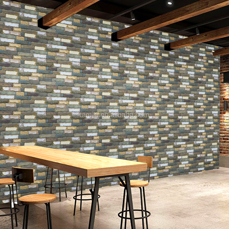 Modern peel and stick decorative self-adhesive faux grey tile brick stone textured sticker Wallpaper