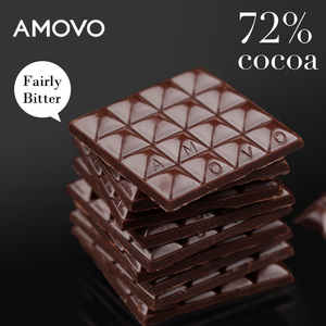 AMOVO 72% cocoa belgian dark chocolate tablet candy for wholesale