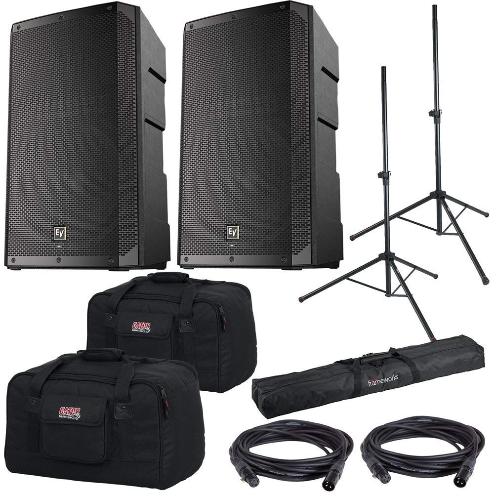 Electro-Voice EV ELX200-12P 12-inch Powered Speakers, Gator Totes & Stands