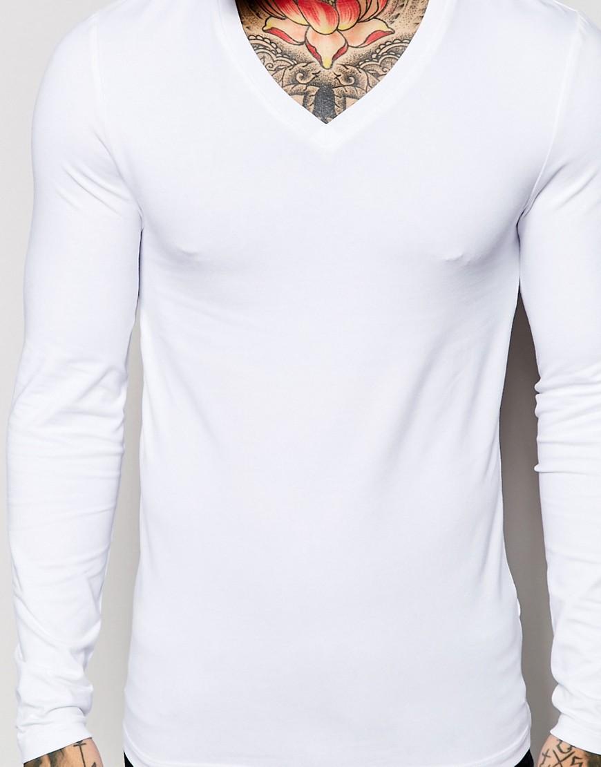 Belanja Online India Pria Pakaian V Leher Lengan Panjang Polos Putih Slim Fit Pria T Shirt Tee Buy Belanja Online India Pria Lengan Panjang T Shirts Tees Putih Polos T Shirt Tees Product