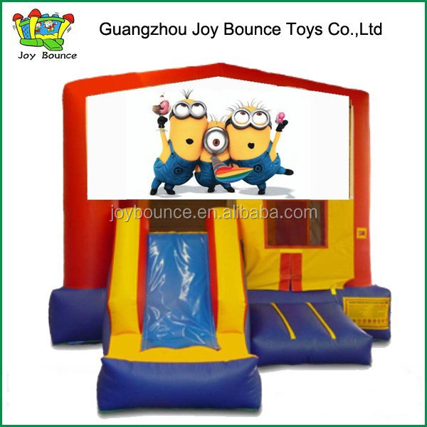 combo jumpers rental inflatable bouncer house with slide , inflatable bouncer slide with minions panel