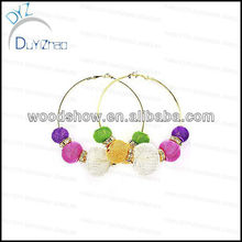 Colorful mesh ball basketball wives hoop earrings