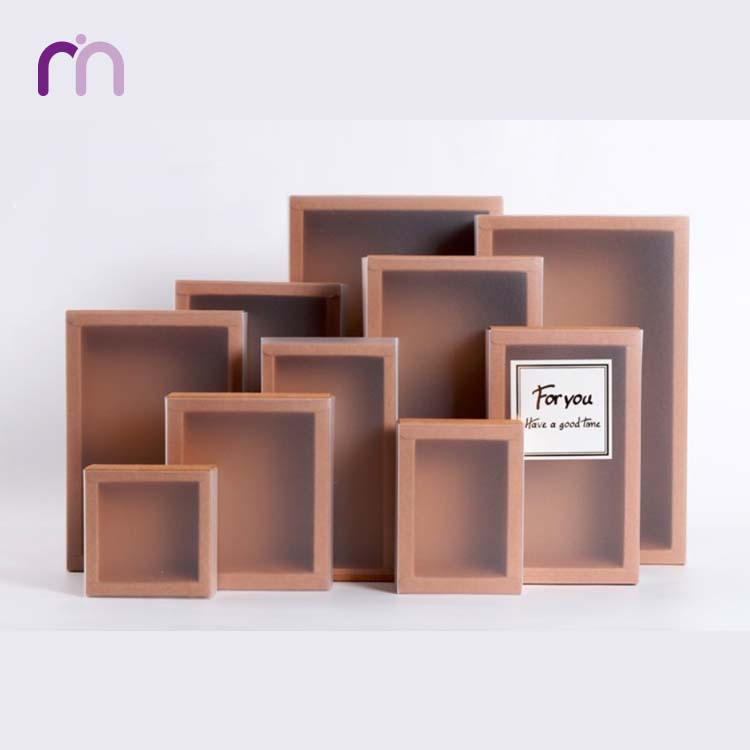 Sliding Kraft Drawer Paper Soap Box With Frosted PVC Sleeve