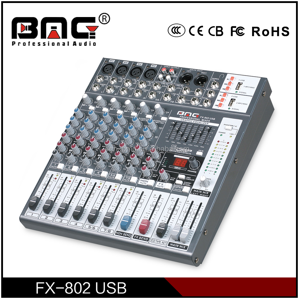 BMG High Quality FX-802 USB Audio Interface Console DJ for Karaoke Mixer