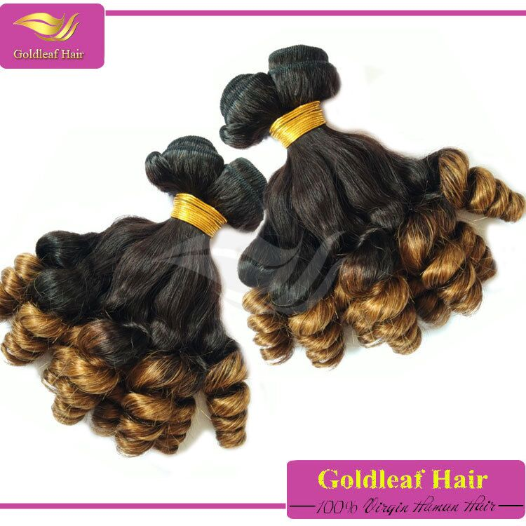 hot sale colored two tone human malaysian curly hair blond bouncy curl virgin hair