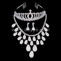 2016 Bridal crystal choker Necklace sets wedding hair bridal drop necklace earring crown jewelry set