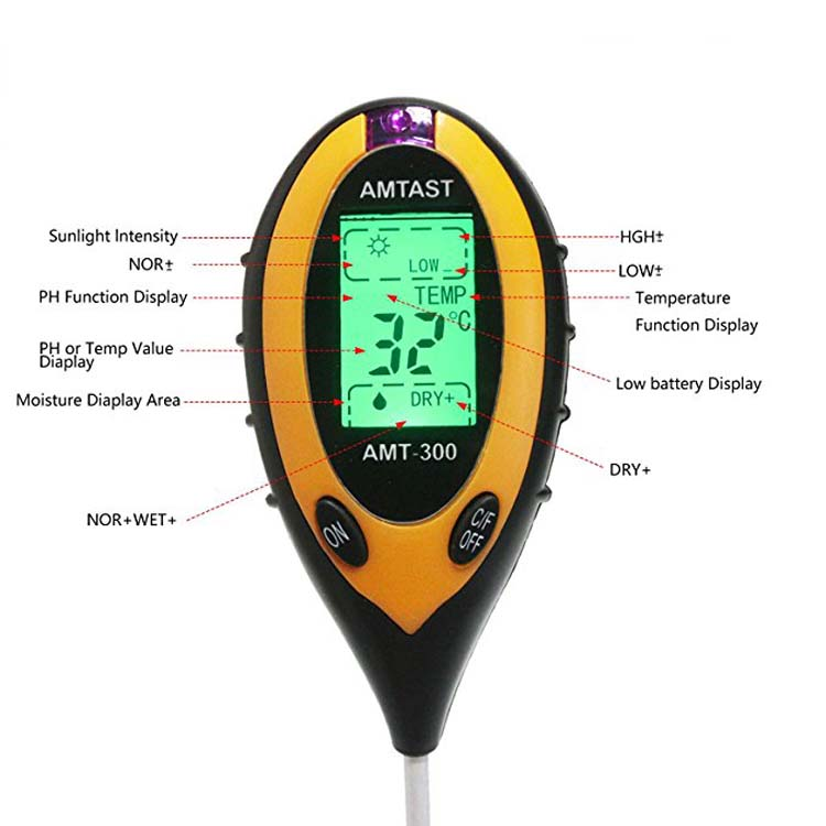 4 in 1 Soil PH Meter for Plants and Lawns for Sunlight, Moisture, PH Value, Temperature