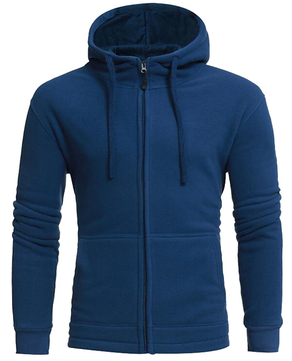 Oberora Mens Casual Solid Color Pockets Sweatshirt Hoodies Coat