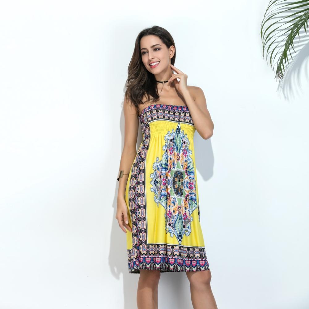 Trägerlosen Maxi Boho Kleid Frauen Sommer Strand Kleid 2017 ...