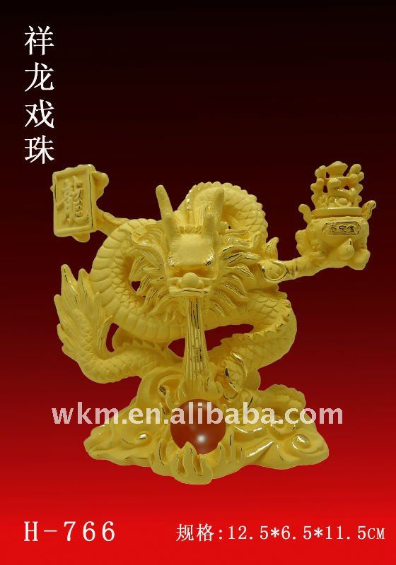 new year gift golden dragon statue