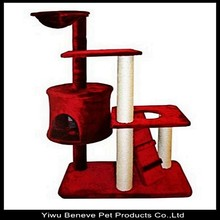 red luxury plush cat tree sisal rope post for cat relax