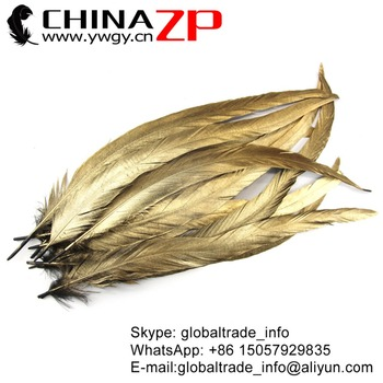 ZPDECOR Wholesale Size 30-35cm Metallic Gold Painted Rooster Tail Feathers