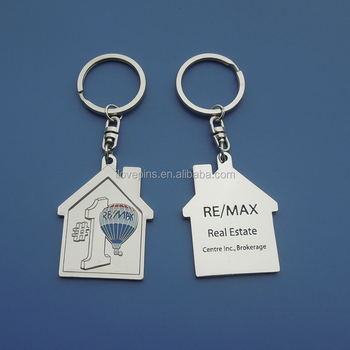 Remax Real Estate House Shaped Metal Keychain