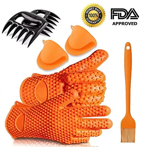 Factory Supplier Wholesale Food Grade Kitchen Cooking Oven Mitts Ayl Silicone Heat Resistant Grilling BBQ Gloves