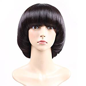 Aoert Short Straight Wig With Bangs Bob Mushroom Synthetic Heat Resistant Black Wig for Black Women Hair Replacement Wig Cosplay Wig for Party 12""
