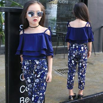 5016343bc Girls Set Clothes Kids Fashion Top Pant Two Piece Children Summer ...