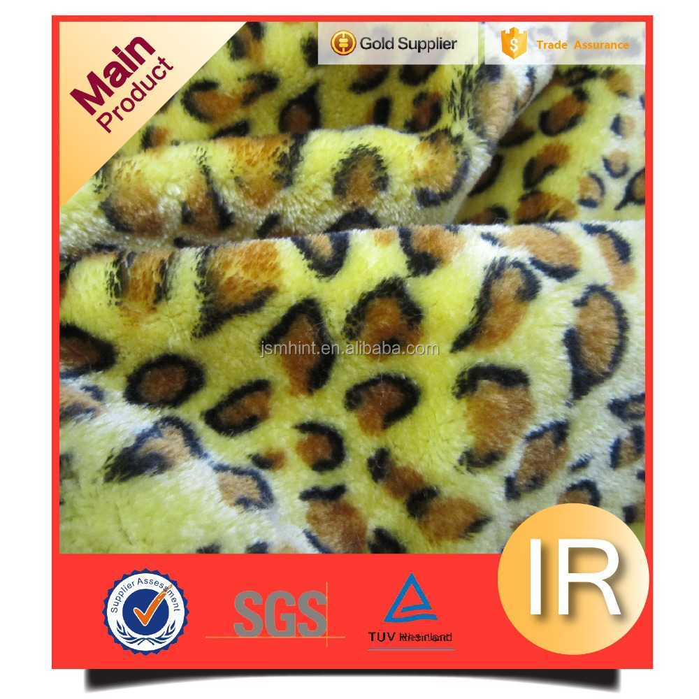 Yellow 100% polyester fake animal print fur for throw blankets