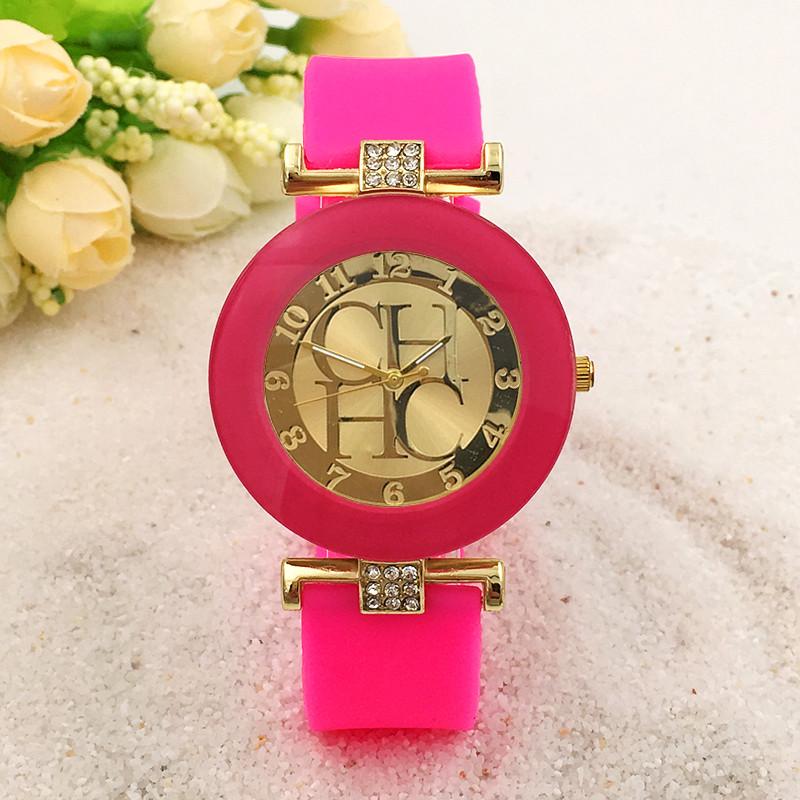2015 New Fashion Brand Gold Geneva Casual Quartz Watch Women Crystal Silicone Watches Relogio Feminino Dress Wrist Watch Hot