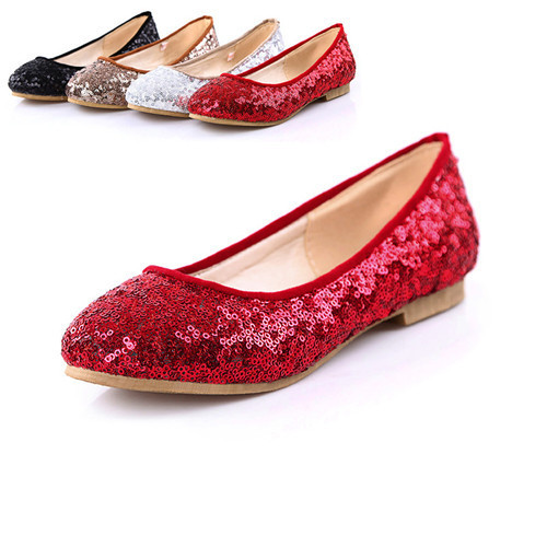 b27a96a06579 Get Quotations · Flat Shoes Female Round Toe Flats Red Color Dance Shoes  Flat Ballet Glitter Shoes Big size