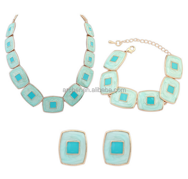 Spring/Summer Design Epoxy Jewelry Necklace Earrings bracelet Set pink sweet Faceted Square Resin Stones,costume necklace set