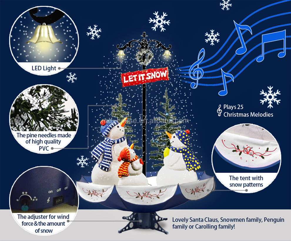 Snowing Christmas Tree With Umbrella Base Price Snowing